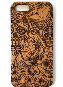 Sugar Skulls bamboo wood iPhone case for iPhone 6, iPhone 6s, iPhone 6 plus, iPhone 7, iPhone 7 plus, iPhone 8, iPhone 8 plus, iPhone X, XS, XR, XS Max
