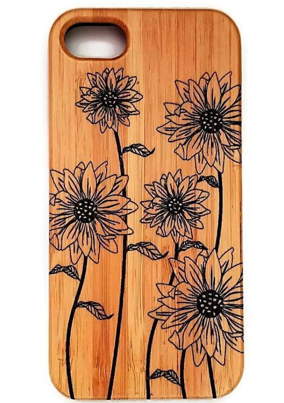 Field of Sunflowers bamboo wood case for iPhone 6, iPhone 6s, iPhone 6 plus, iPhone 7, iPhone 7 plus, iPhone 8, iPhone 8 plus, iPhone X, XS, XR, XS Max