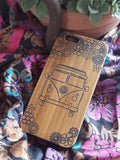 Hippie VW Bus bamboo wood iPhone case for iPhone 6, iPhone 6s, iPhone 6 plus, iPhone 7, iPhone 7 plus, iPhone 8, iPhone 8 plus, iPhone X, XS, XR, XS Max