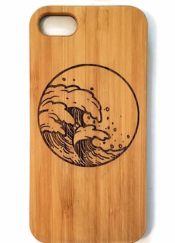 Waves bamboo wood iPhone case for iPhone 6, iPhone 6s, iPhone 6 plus, iPhone 7, iPhone 7 plus, iPhone 8, iPhone 8 plus, iPhone X, XS, XR, XS Max