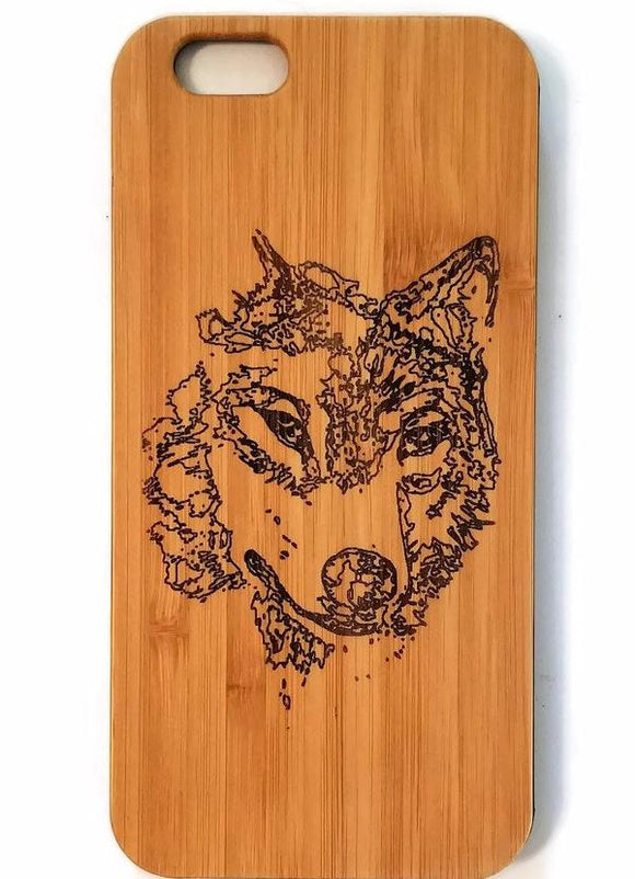 Wolf bamboo wood iPhone case for iPhone 6, iPhone 6s, iPhone 6 plus, iPhone 7, iPhone 7 plus, iPhone 8, iPhone 8 plus, iPhone X, XS, XR, XS Max