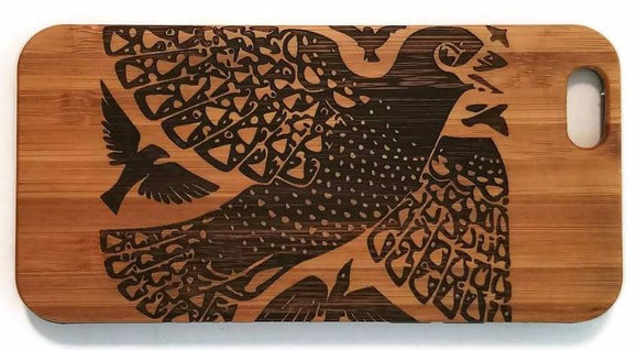 Birds Abstract bamboo wood iPhone case for iPhone 6, iPhone 6s, iPhone 6 plus, iPhone 7, iPhone 7 plus, iPhone 8, iPhone 8 plus, iPhone X, XS, XR, XS Max