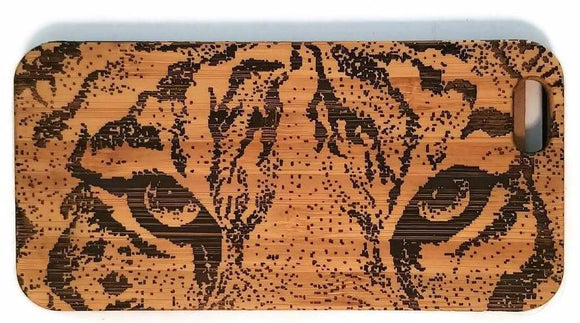 Tiger Eyes bamboo wood iPhone case for iPhone 6, iPhone 6s, iPhone 6 plus, iPhone 7, iPhone 7 plus, iPhone 8, iPhone 8 plus, iPhone X, XS, XR, XS Max