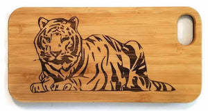 Tiger bamboo wood iPhone case for iPhone 6, iPhone 6s, iPhone 6 plus, iPhone 7, iPhone 7 plus, iPhone 8, iPhone 8 plus, iPhone X, XS, XR, XS Max