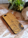 Sunflower bamboo wood iPhone case for iPhone 6, iPhone 6s, iPhone 6 plus, iPhone 7, iPhone 7 plus, iPhone 8, iPhone 8 plus, iPhone X, XS, XR, XS Max