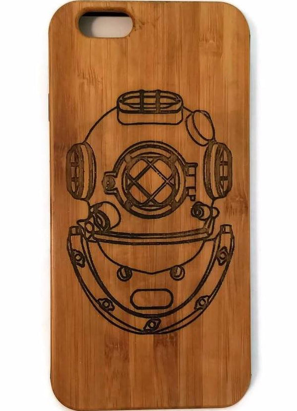 Deep Sea Diver's Helmet bamboo wood case for iPhone 6, iPhone 6s, iPhone 6 plus, iPhone 7, iPhone 7 plus, iPhone 8, iPhone 8 plus, iPhone X, XS, XR, XS Max