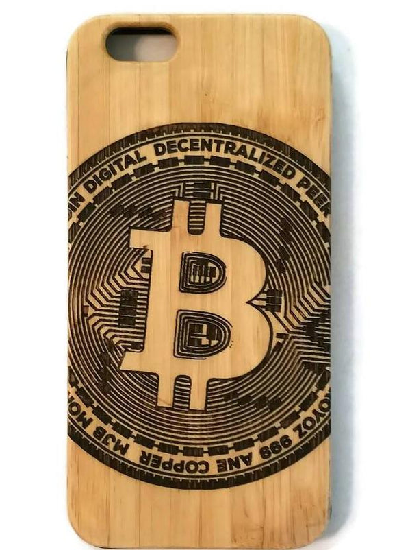 Bitcoin bamboo wood iPhone case for iPhone 6, iPhone 6s, iPhone 6 plus, iPhone 7, iPhone 7 plus, iPhone 8, iPhone 8 plus, iPhone X, XS, XR, XS Max