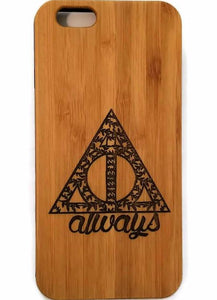Harry Potter Always bamboo wood case for iPhone 6, iPhone 6s, iPhone 6 plus, iPhone 7, iPhone 7 plus, iPhone 8, iPhone 8 plus, iPhone X, XS, XR, XS Max