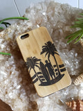 Surfer and Palms bamboo wood case for iPhone 6, iPhone 6s, iPhone 6 plus, iPhone 7, iPhone 7 plus, iPhone 8, iPhone 8 plus, iPhone X, XS, XR, XS Max
