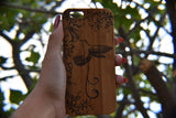 Hummingbird & Flower bamboo wood iPhone case iPhone 6, iPhone 6s, iPhone 6 plus, iPhone 7, iPhone 7 plus, iPhone 8, iPhone 8 plus, iPhone X, XS, XR, XS Max