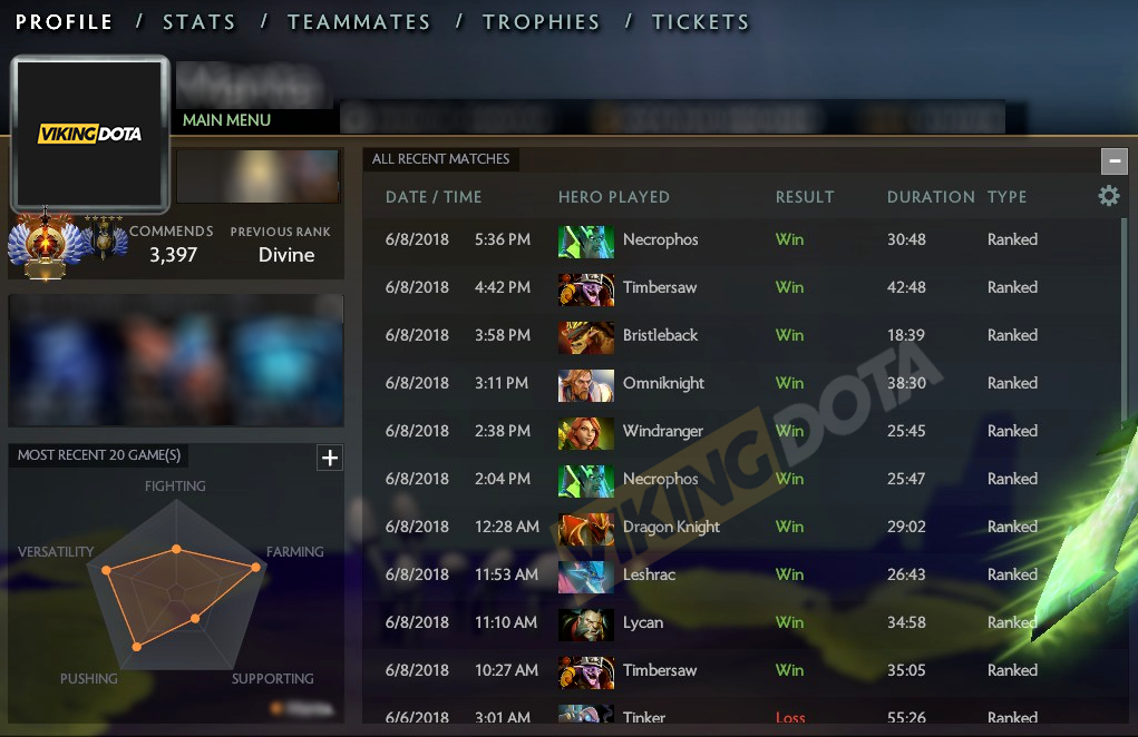 High Winrate, Fast & Professional Recalibration Service by VikingDOTA