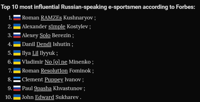 Top 10 most influential Russian-speaking e-sportsmen