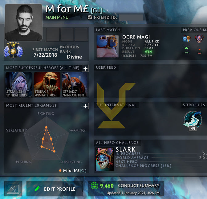 Divine V | MMR : 5300 - Behavior : 9460