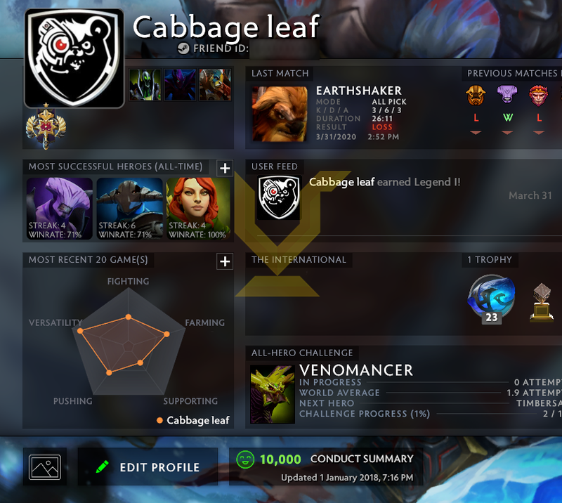 Legend I | MMR: 3140 - Behavior: 10000
