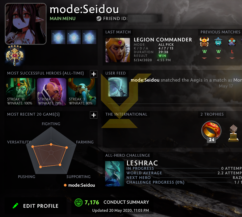 Legend V | MMR: 3800 - Behavior: 7176