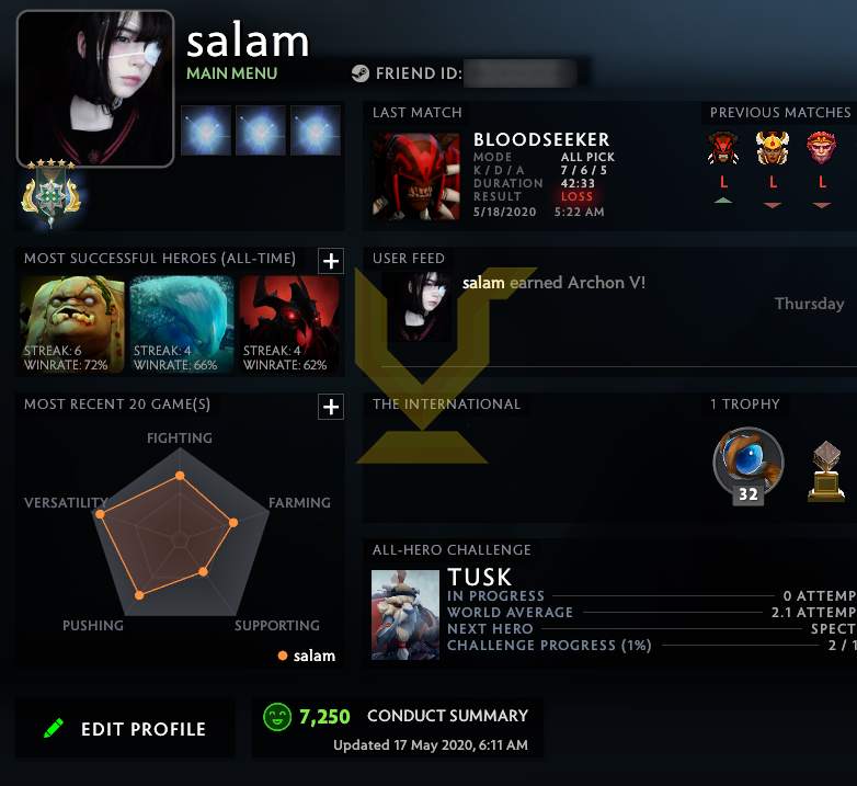 Archon V | MMR: 2860 - Behavior: 7150