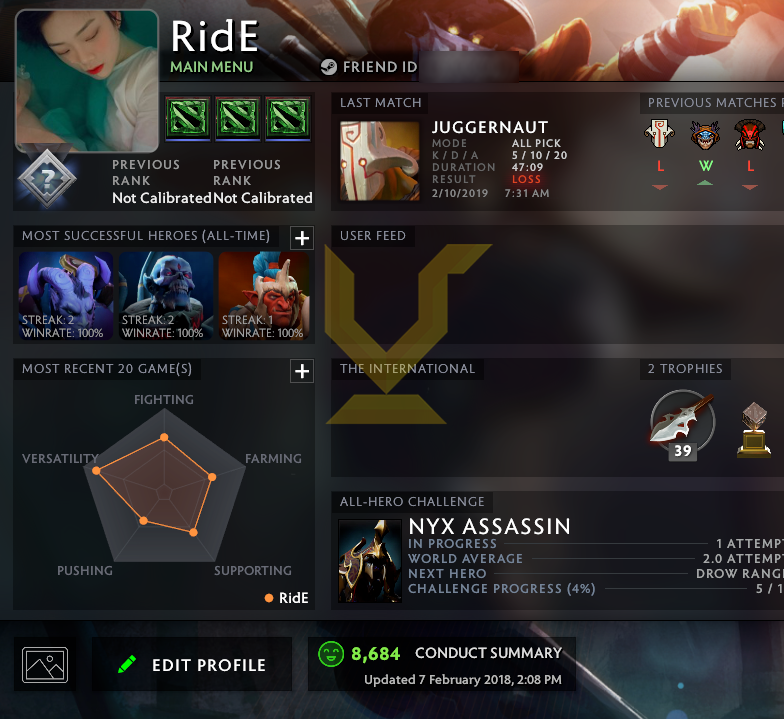 Uncalibrated | MMR: TBD - Behavior: 8684