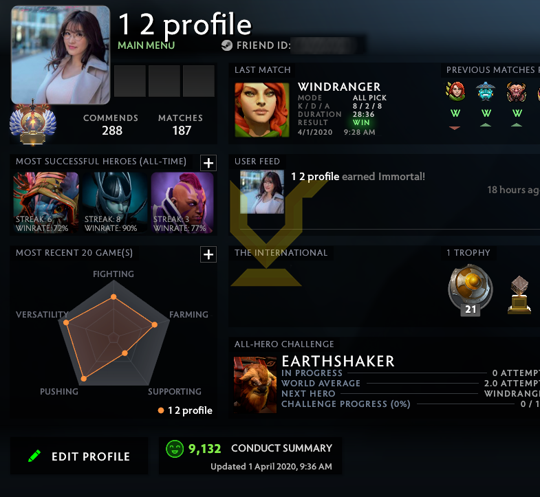 Immortal | MMR: 6000 - Behavior: 9132