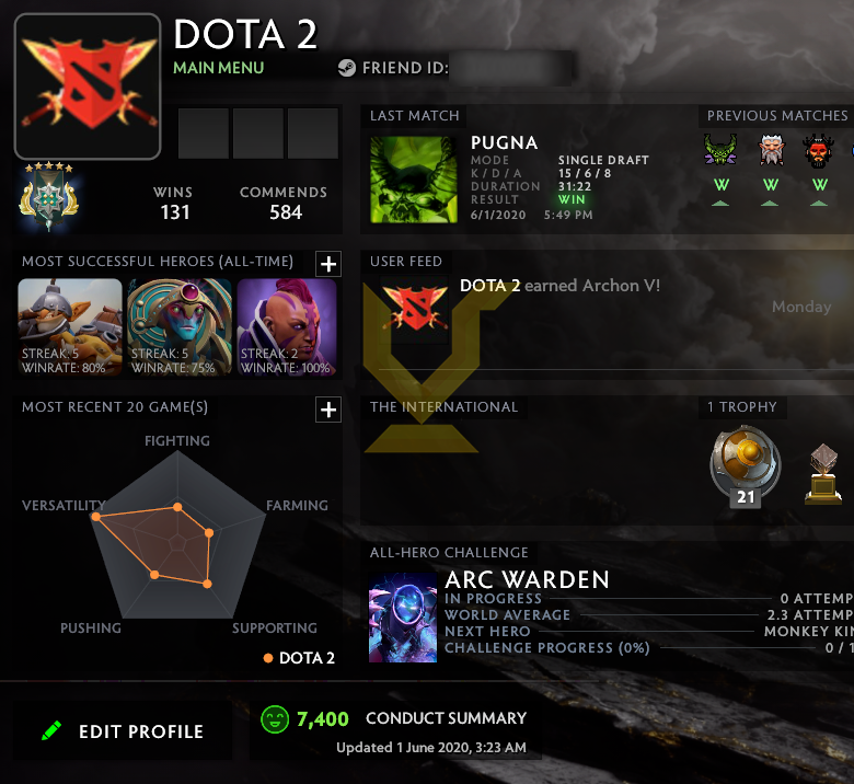Archon V | MMR: 2940 - Behavior: 7400