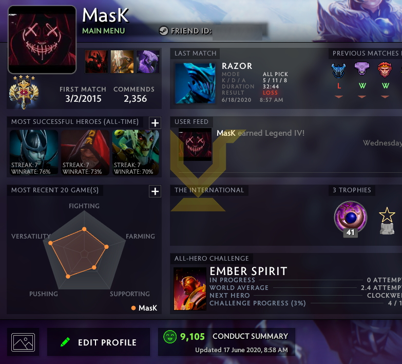 Legend IV | MMR: 3550 - Behavior: 9105