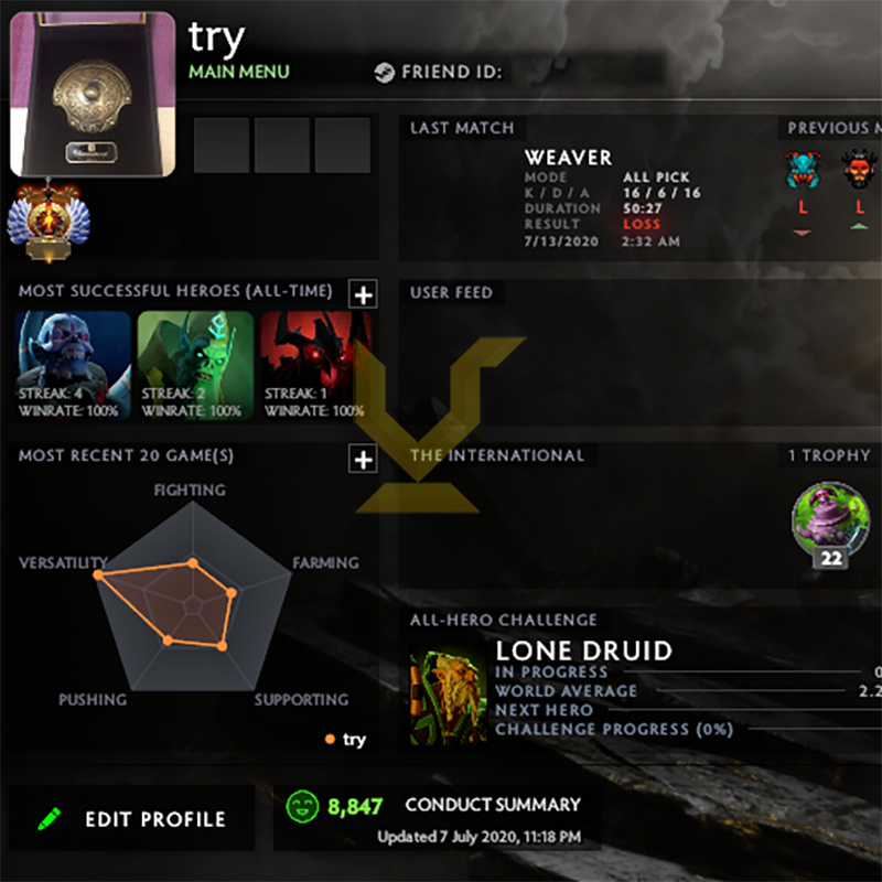 Immortal | MMR: 5710 - Behavior: 8847