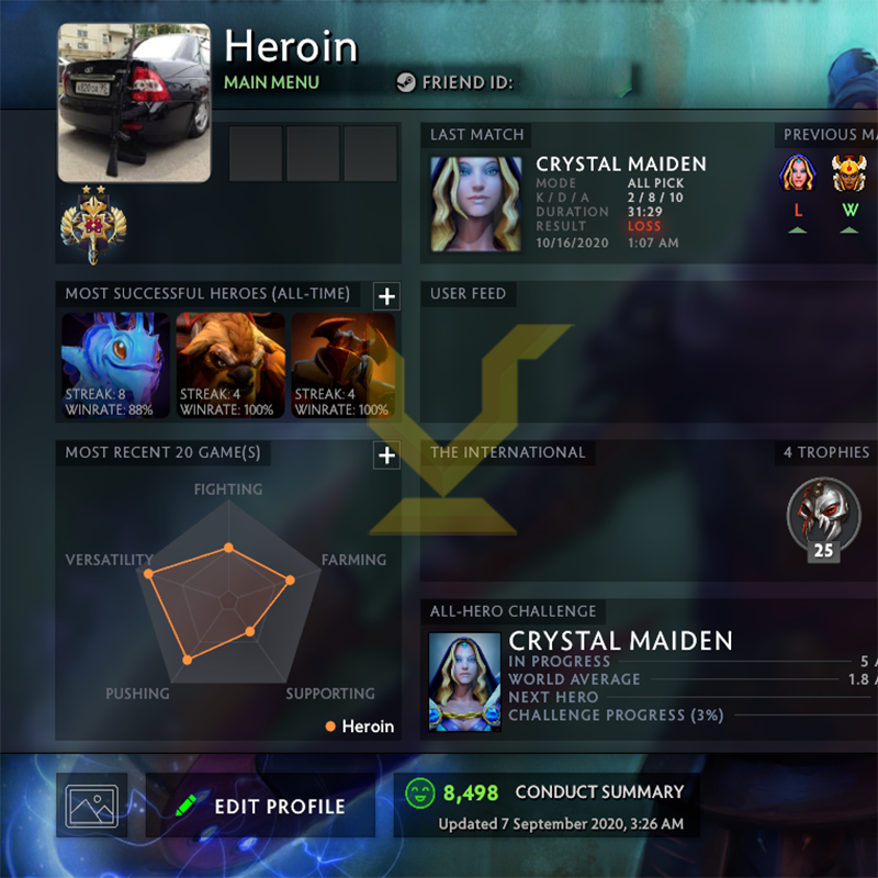 Legend II | MMR: 3200 - Behavior: 8498