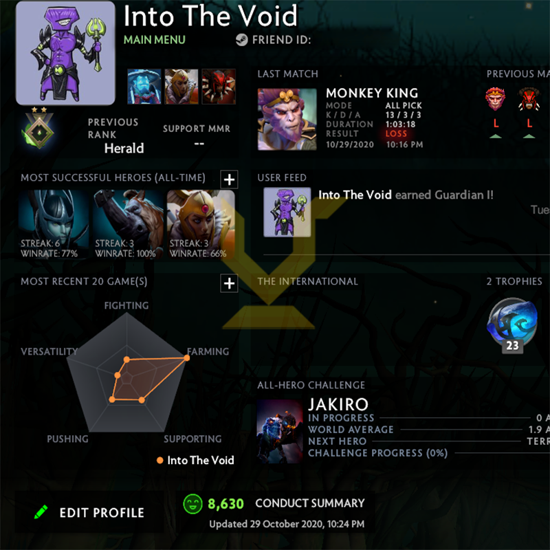 Herald II | MMR: 100 - Behavior: 8630