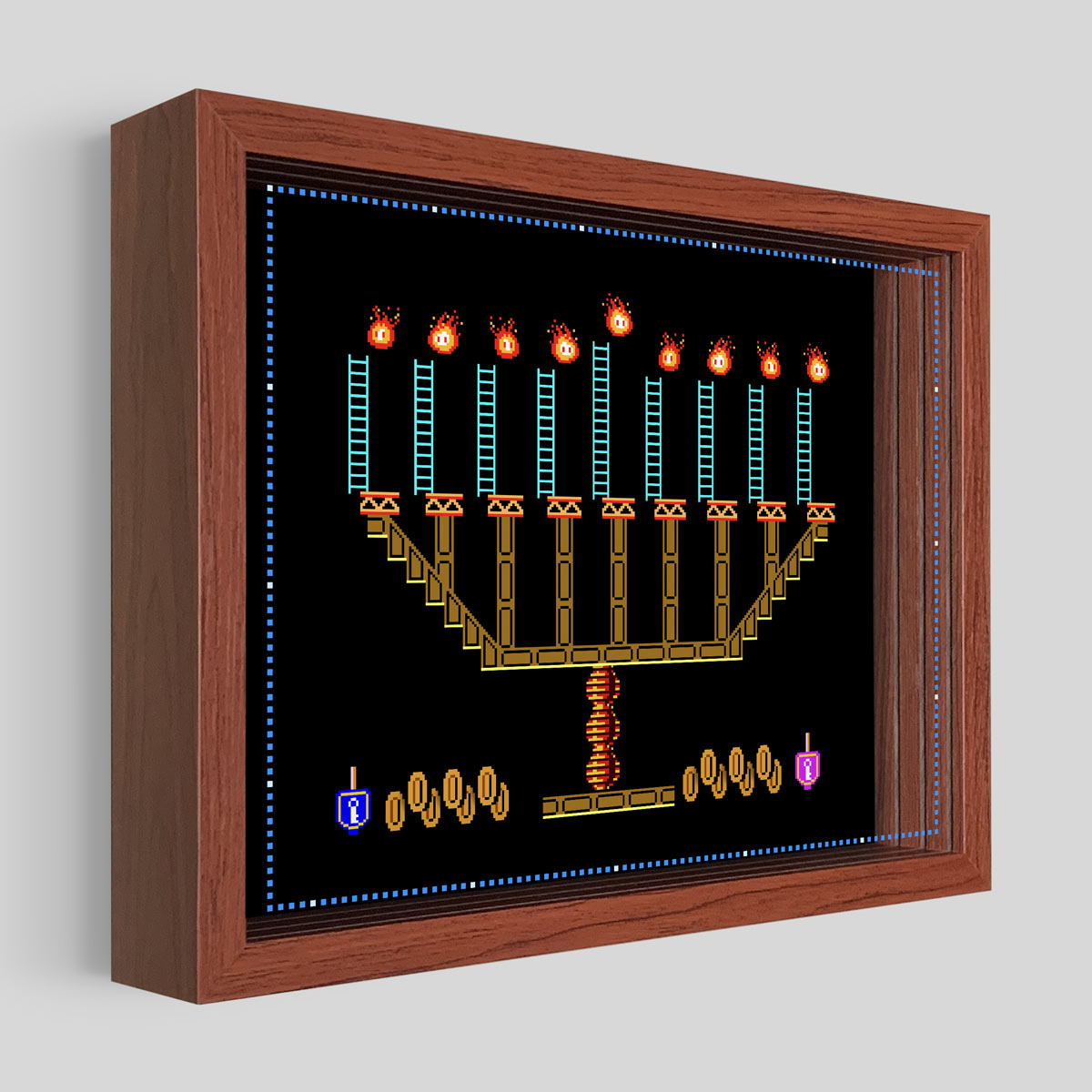 8-Bit Menorah Shadowbox Art