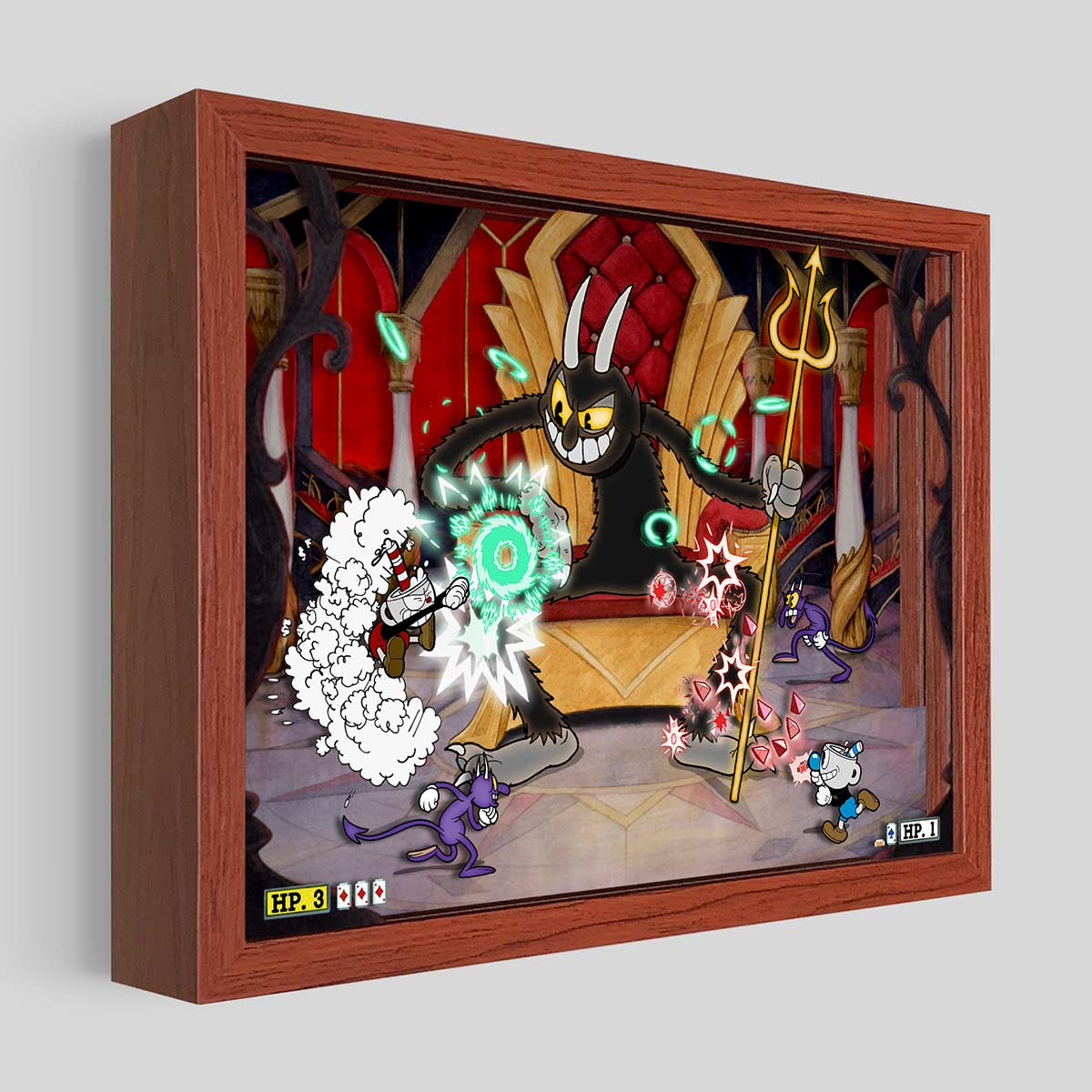 Cuphead Devil Shadowbox Art