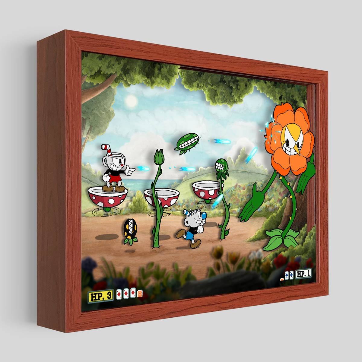 Cuphead Floral Fury Shadowbox Art