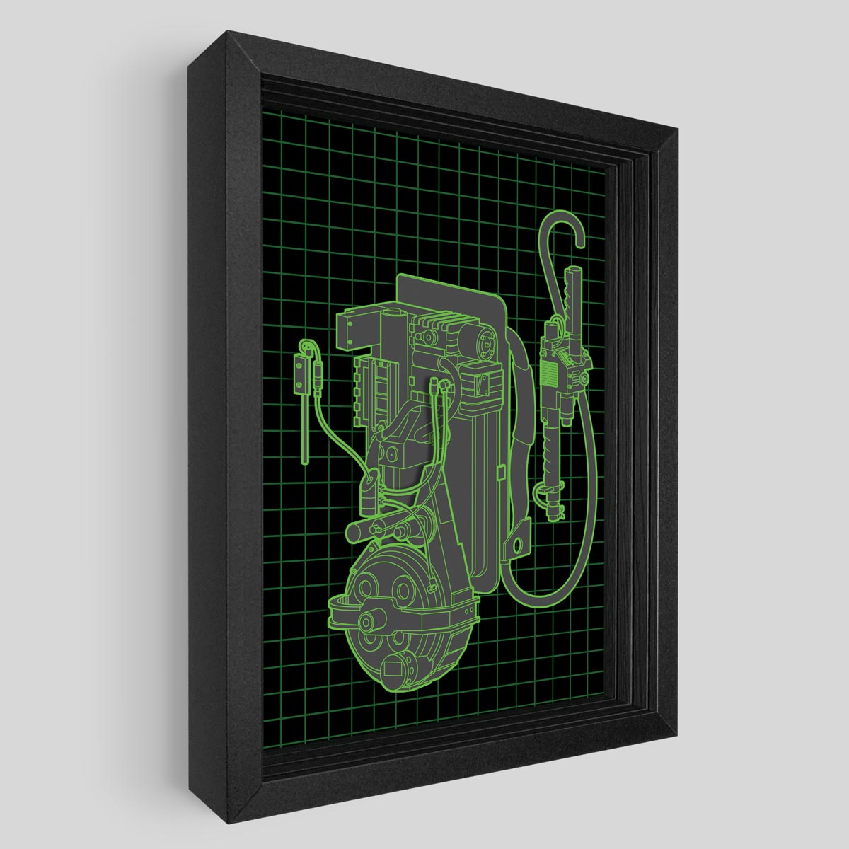 Exploded Proton Pack Shadowbox Art
