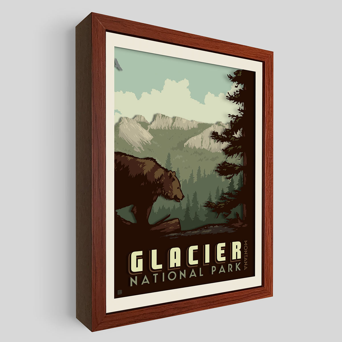 Glacier National Park Shadowbox Art
