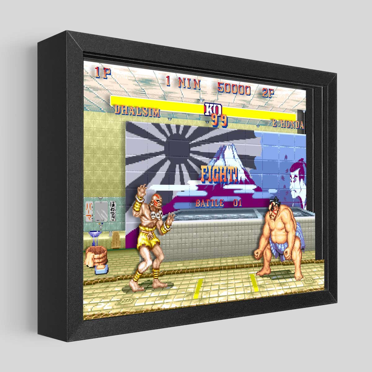 Street Fighter Shadowbox Art - E. Honda vs Dhalsim
