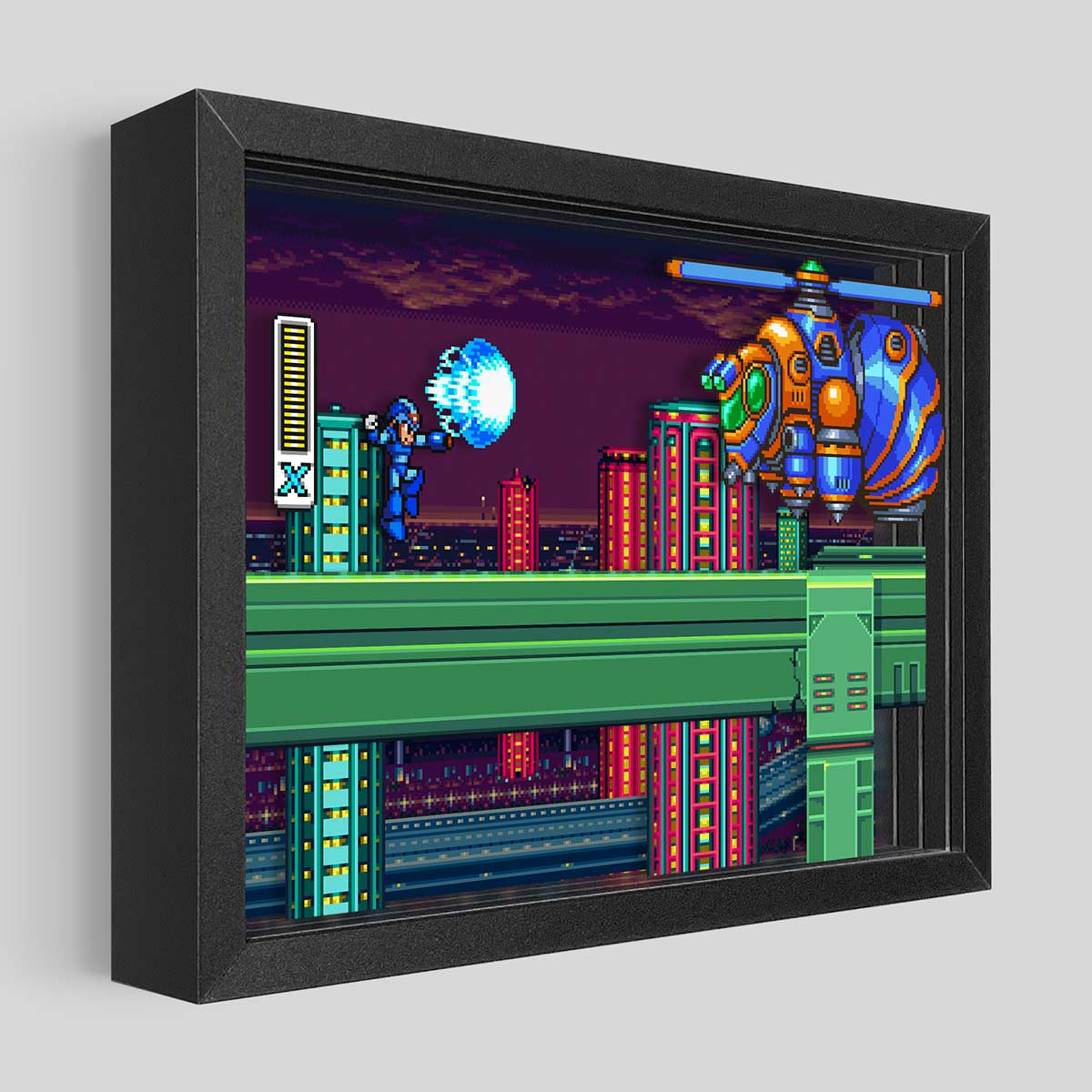 Mega Man X vs Bee Blader Shadowbox Art