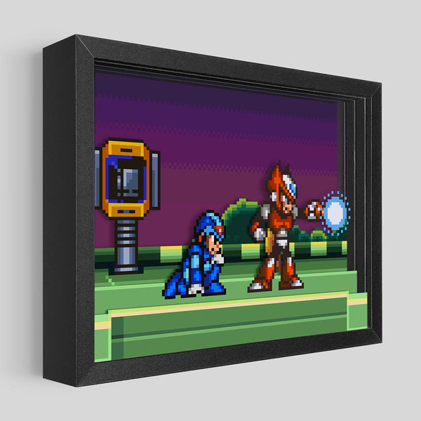 Mega Man Meets Zero Shadowbox Art