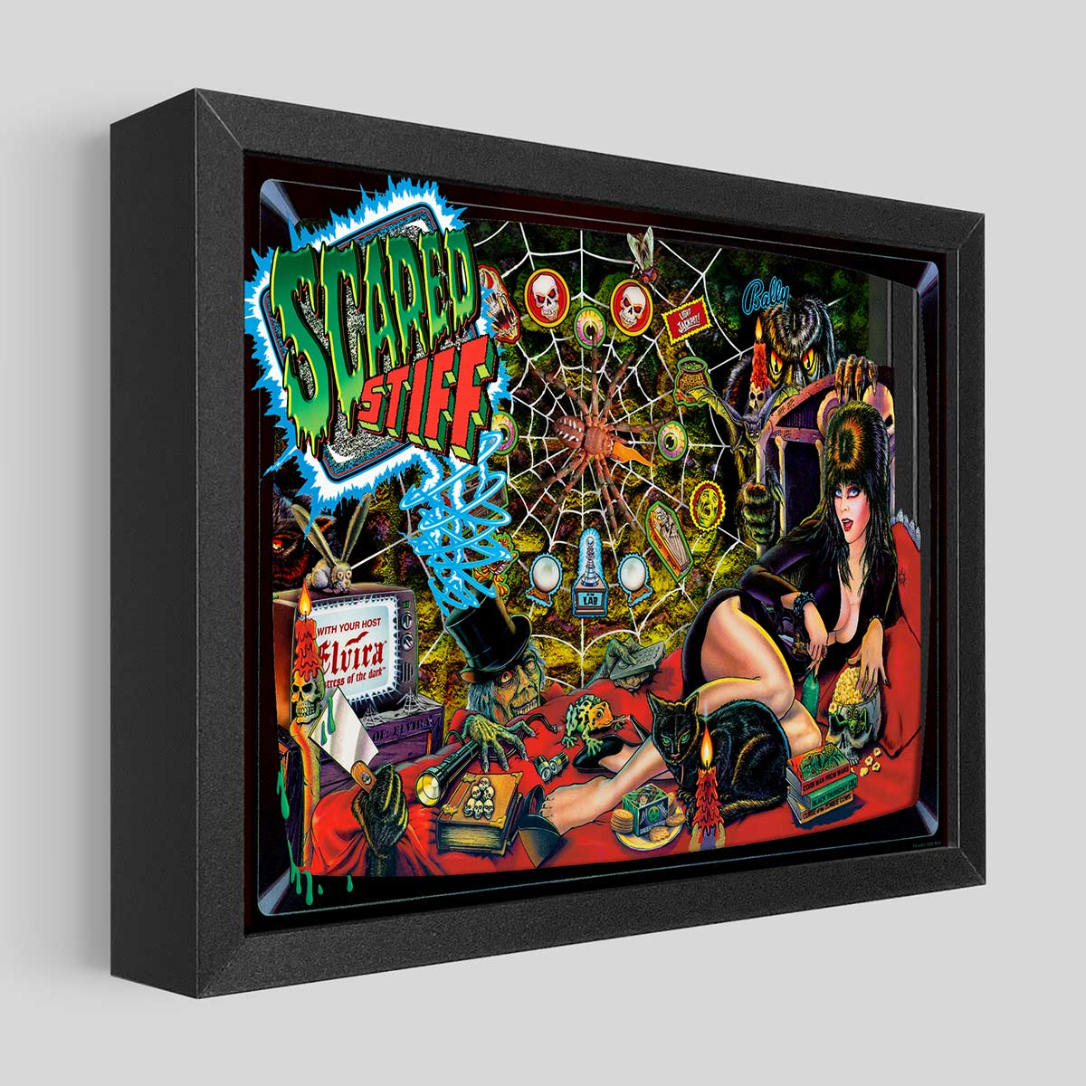 Elvira Scared Stiff Pinball Shadowbox Art