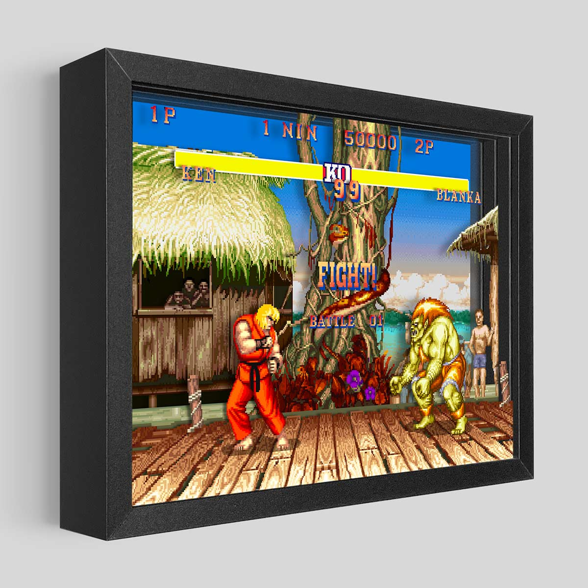 Street Fighter Shadowbox Art - Blanka vs. Ken
