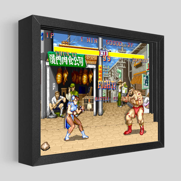 Street Fighter Shadowbox Art - Chun-Li vs. Zangief