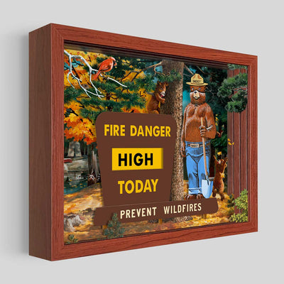 Smokey Bear Sign Shadowbox Art