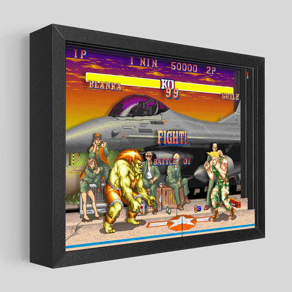 Street Fighter Shadowbox Art - Guile vs. Blanka