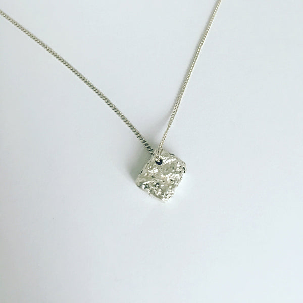 Solid Squarish Shape Sterling Silver Pendant Necklace