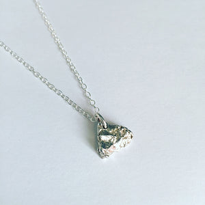 Solid Triangular Shape Sterling Silver 925 Charm Pendant Necklace