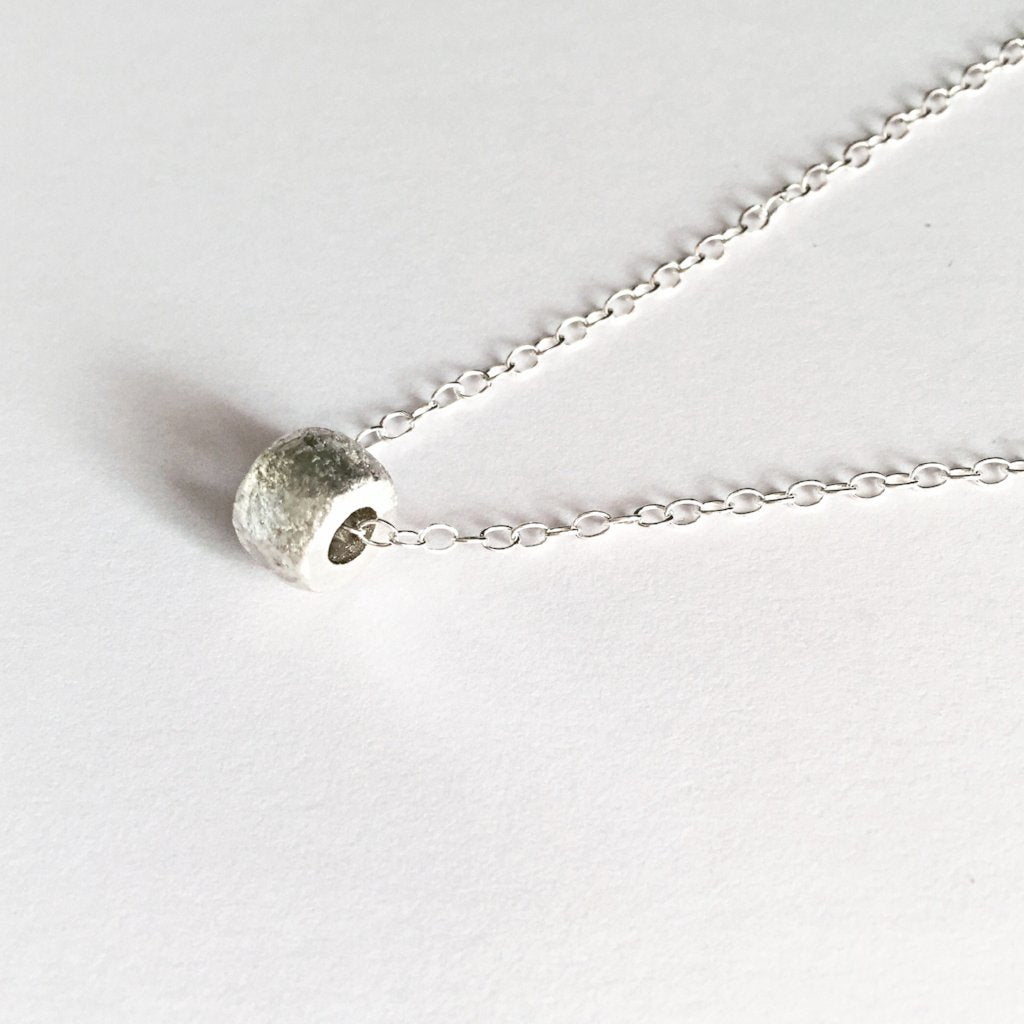 Solid Textured 925 Sterling Silver Bead Slider Charm Pendant Necklace