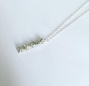 Solid Longer Shape Sterling Silver Organic Texture Pendant Necklace