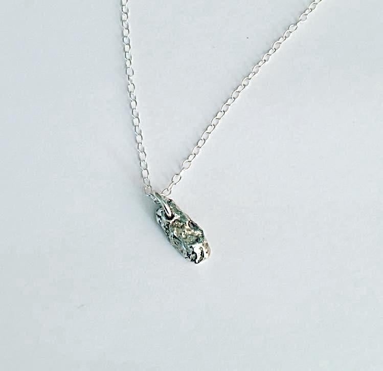 Solid Shorter Shapes Sterling Silver Organic Texture Pendant Necklace
