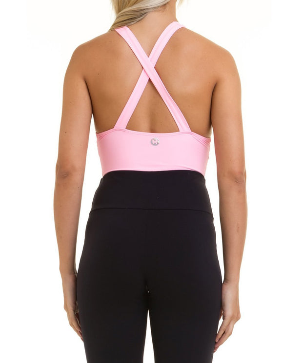 VESTEM Pink Bodysuit with Built in Cups