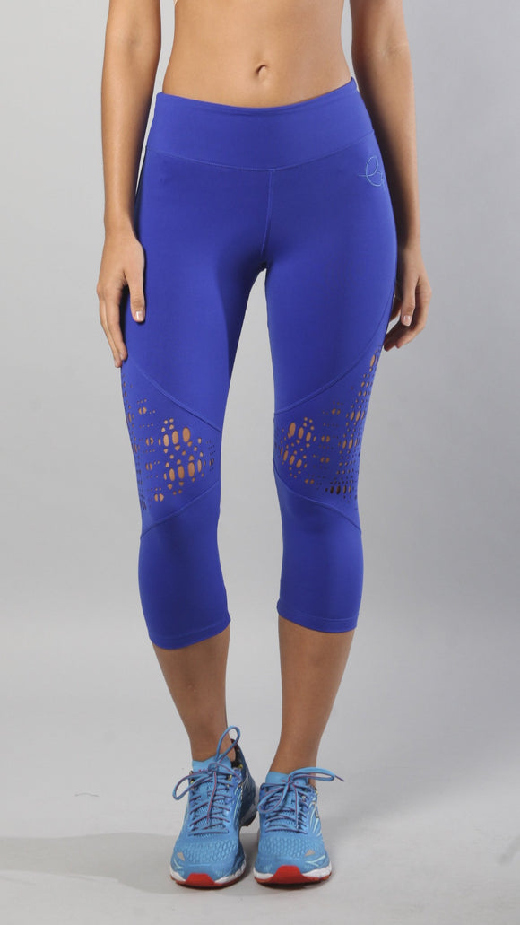 EQUILIBRIUM Designer Royal Blue Capri with Laser-Cut Design