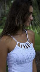 EQUILIBRIUM White Long Top with Adjustable Strap