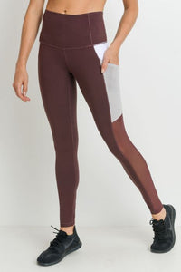 Highwaist Mesh & Colorblock Deep Pockets Full Leggings