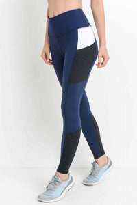 Highwaist Laser-Cut Colorblock Mesh Leggings